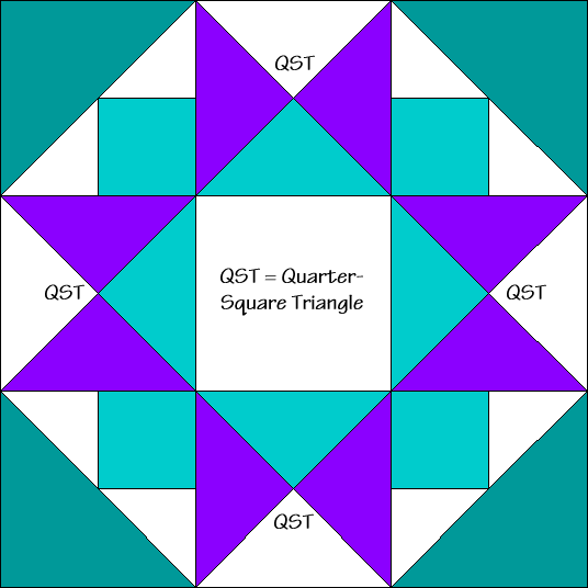 Morning Star Quilt Block Diagram Free Pattern at QuiltTherapy.com!