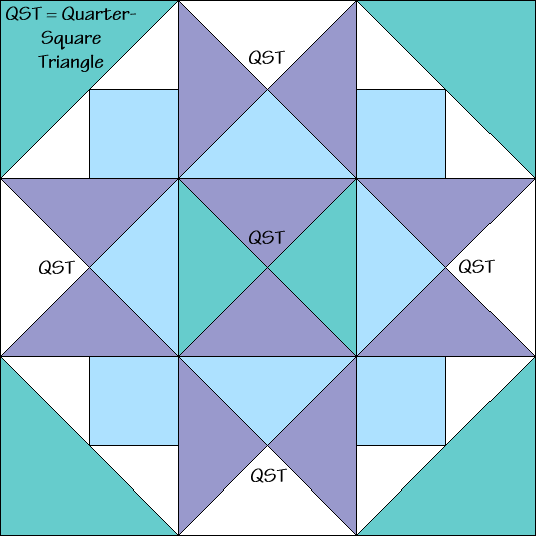 Morning Star Variation Quilt Block Diagram Free Pattern at QuiltTherapy.com!