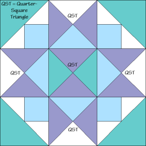 Morning Star Variation Quilt Block Diagram Free Pattern at QuiltTherapy.com!