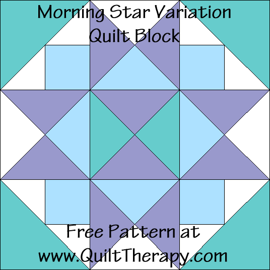 Morning Star Variation Quilt Block Free Pattern at QuiltTherapy.com!
