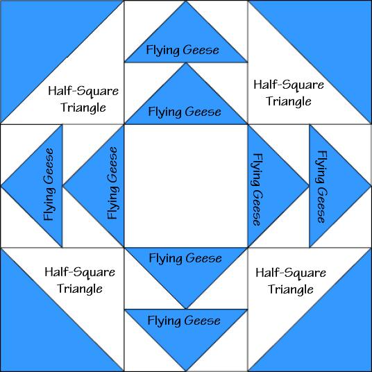 Hidden Star Quilt Block Diagram Free Pattern at QuiltTherapy.com!