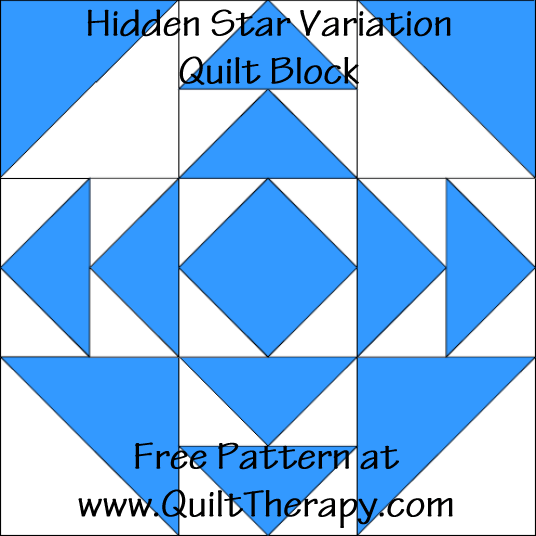 Hidden Star Variation Quilt Block Free Pattern at QuiltTherapy.com!