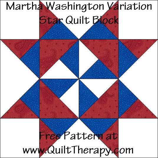 Martha Washington Star Variation Quilt Block Free Pattern at QuiltTherapy.com!