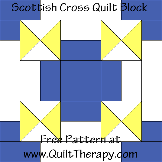Scottish Cross Quilt Block Free Pattern at QuiltTherapy.com!