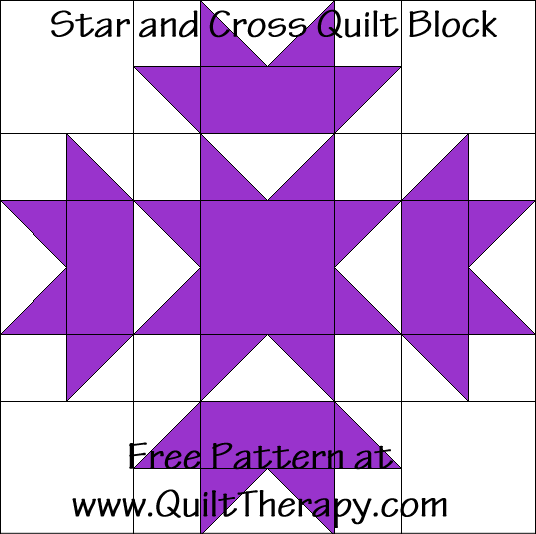 Star and Cross Quilt Block Free Pattern at QuiltTherapy.com!