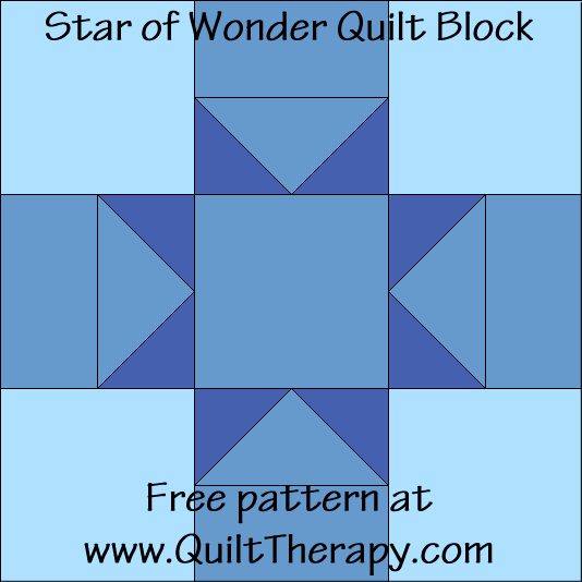 Star of Wonder Quilt Block Free Pattern at QuiltTherapy.com!