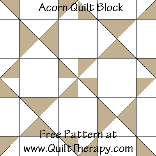 Acorn Quilt Block Free Pattern at QuiltTherapy.com!