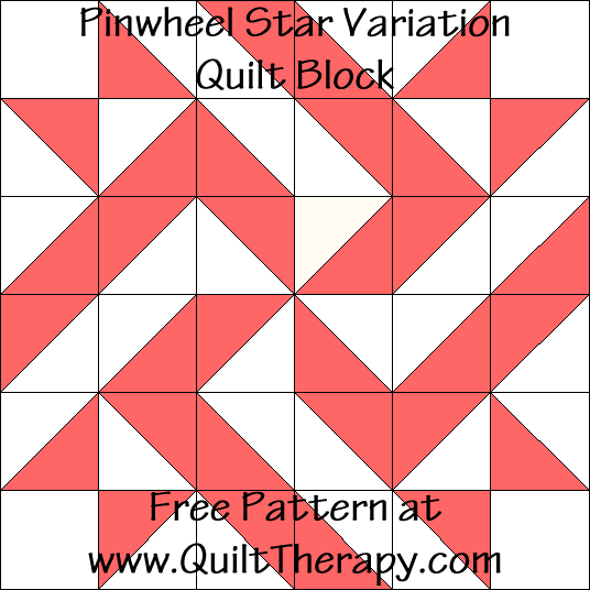 Pinwheel Star Variation Quilt Block Free Pattern at QuiltTherapy.com!
