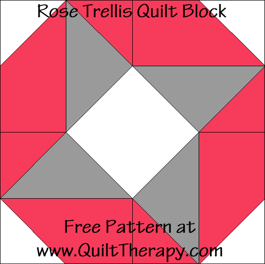 Rose Trellis Quilt Block Free Pattern at QuiltTherapy.com!