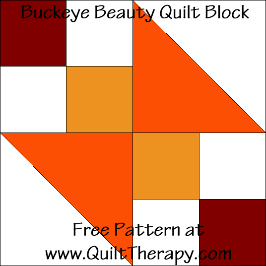 Buckeye Beauty Quilt Block Free Pattern at QuiltTherapy.com!