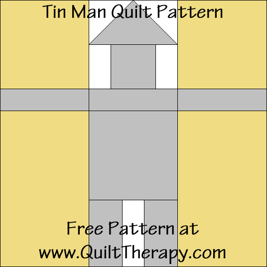Tin Man Quilt Block Free Pattern at QuiltTherapy.com!