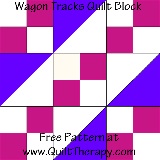 Wagon Tracks Quilt Block Free Pattern at QuiltTherapy.com!