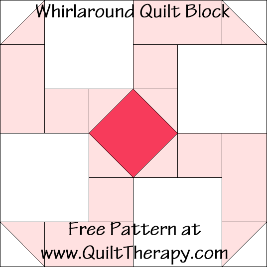Whirlaround Quilt Block Free Pattern at QuiltTherapy.com!