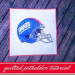 NY Giants Vintage Pillowcase Quilted Potholder Tutorial