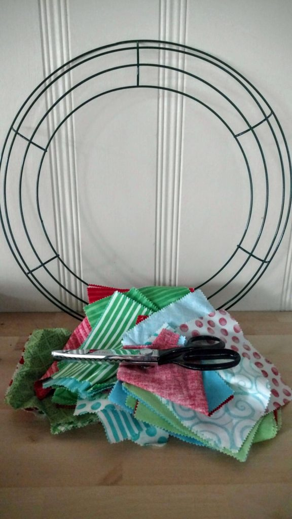 wire wreath and fabric scraps