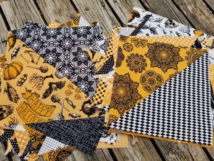 happy halloween fabric, patrick lose, halloween quilt, large HST blocks