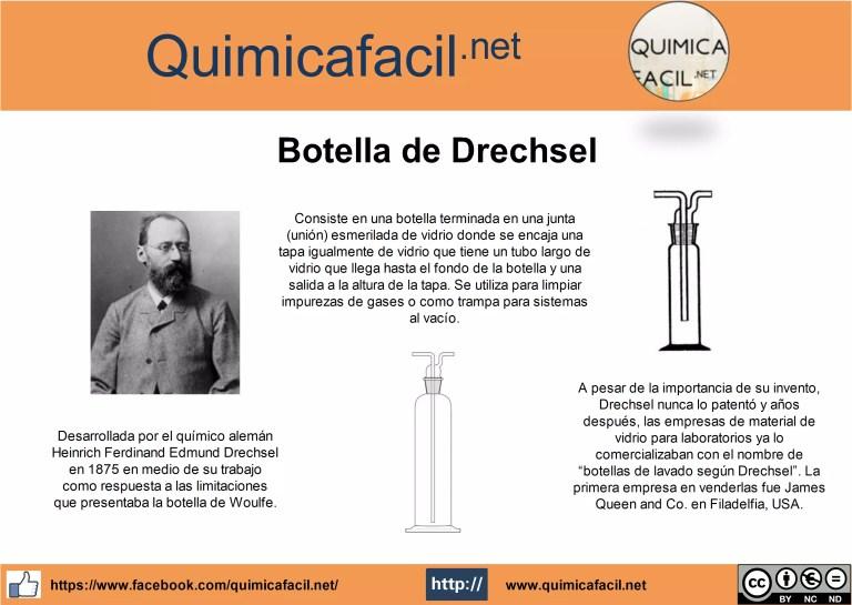 Desarrollada por el químico alemán Heinrich Ferdinand Edmund Drechsel en 1875 en medio de su trabajo como respuesta a las limitaciones que presentaba la botella de Woulfe.