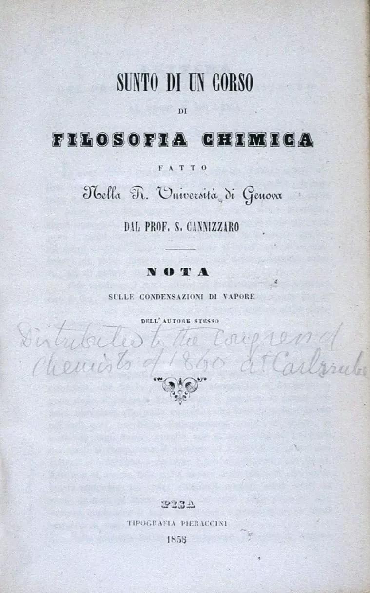 Sunto di un corso de filosofía chimica, obra de Stanislao Cannizzaro