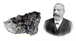 Clemens Winkler y una muestra de germanio