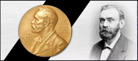Alfred Nobel y la medalla dada a los ganadores del premio Nobel