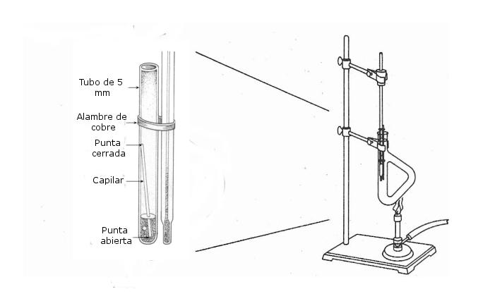 Detalle método de Siwoloboff para determinar el punto de ebullición