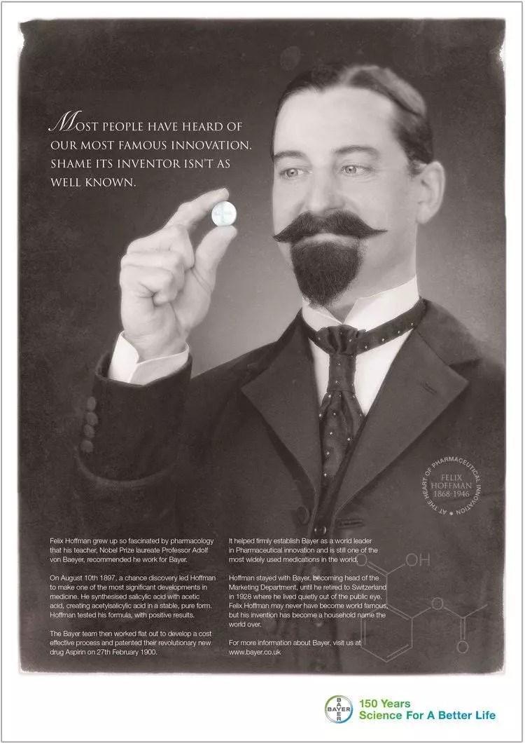 Felix Hoffmann en publicidad aspirin de Bayer