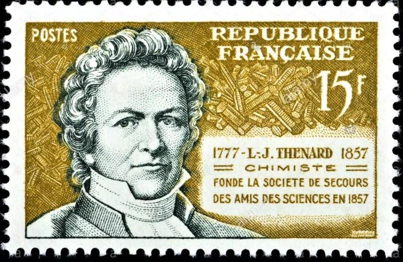 Sello postal emitido por Francia en conmemoración de los 100 años del fallecimiento del químico Louis Jacques Thénard