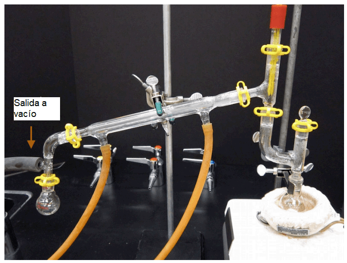 montaje destilación al vacío simple