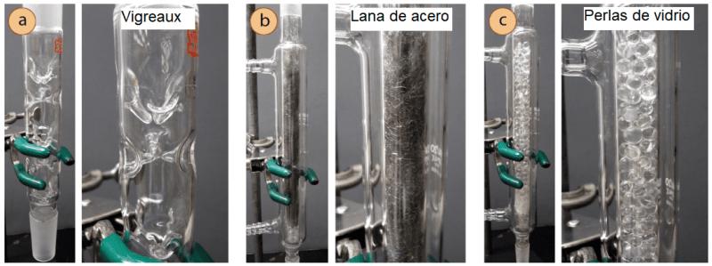 Diferentes columnas de fraccionamiento: a) Vigreux, b) Lana de acero, c) Relleno de perlas de vidrio