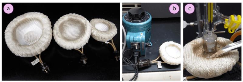 Imagen 15. a) Tres tamaños de manto calefactor, b) Manto calefactor conectado a un Variac, c) Llenado de un manto calefactor con arena