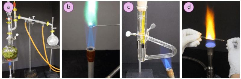 Imagen 8. Usos de los mecheros Bunsen en métodos de calentamiento como: a) Destilación por vapor, b) Prueba de Beilsten, c) Tubo de Thiele, d) Pipetas ablandadas para TLC