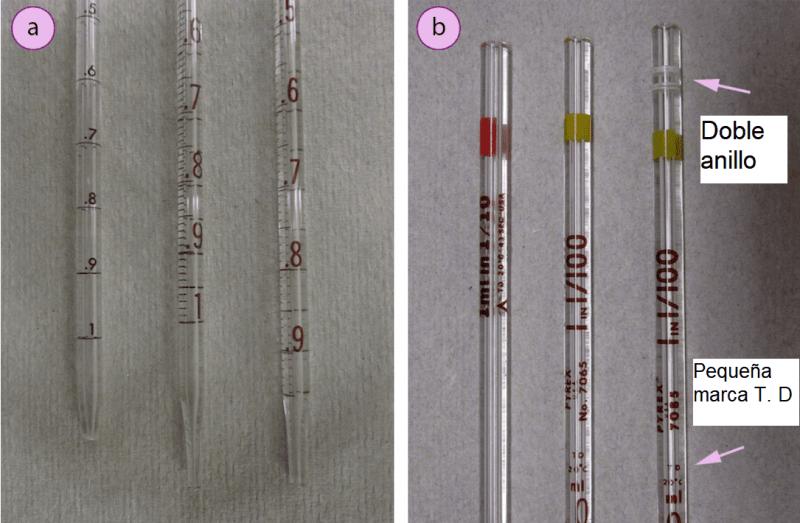 Imagen 9. Tres pipetas graduadas de 1mL con diferentes marcas: a) Parte inferior de las pipetas, b) Parte superior de las pipetas