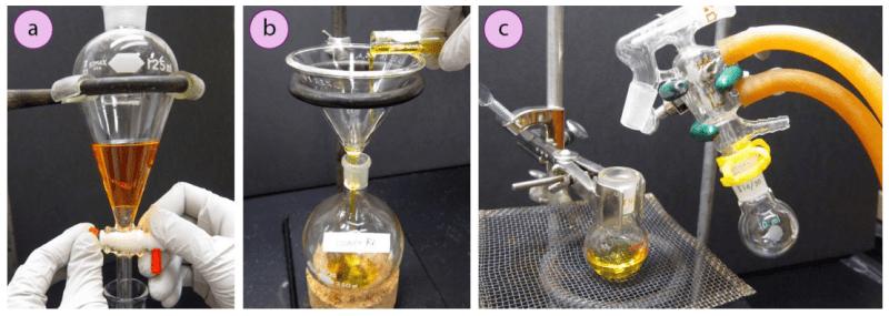 Imagen 4: Uso de abrazaderas de anillo para: a) Sujetar embudos de separación, b) Sujetar embudos, c) Montar una plataforma ajustable