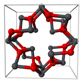 Estructura cristalina del óxido doble de plomo (II, IV) o minio