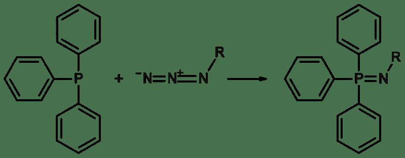 La trifenilfosfina y un azida reaccionan para formar un fosfato y un nitrógeno gaseoso mediante la reacción de Staudinger