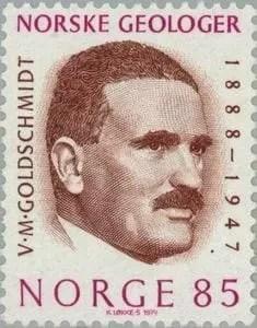 Sello postal de Noruega emitido en honor a Victor Goldschmidt (1974)