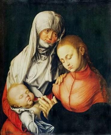 Albrecht Durero, Virgen y niño con Santa Ana, 1519. El color rojo se hizo con minio o rojo de plomo
