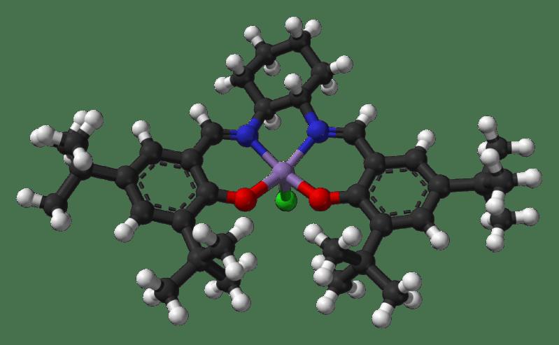 Modelo de bolas y palos del enantiómero S,S del catalizador de Jacobsen