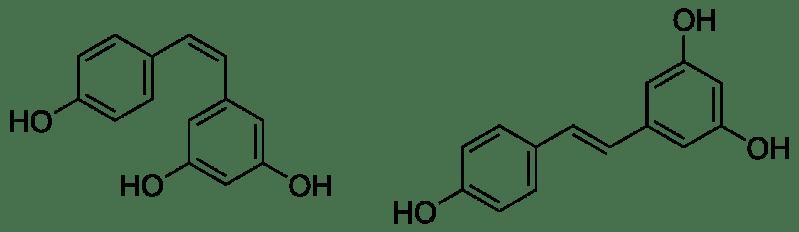 Estructuras químicas del cis- ((Z)-resveratrol, izquierda) y trans-resveratrol ((E)-resveratrol, derecha)