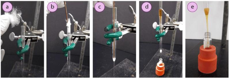 Imagen 1: Creación y uso de una pipeta con filtro para microfiltración: a) Pedazo de algodón, b+c) Empujar el algodón al fondo de la pipeta, d) Filtrar una mezcla en un vial de GC, e) vial de GC sostenido con un gran septo invertido.