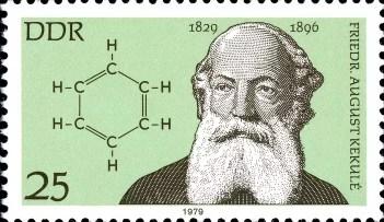 Sello postal de Alemania Oriental sobre Kekulè y la estructura del benceno