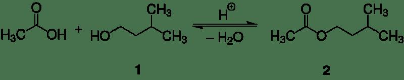 Esquema de reacción síntesis de acetato de isoamilo