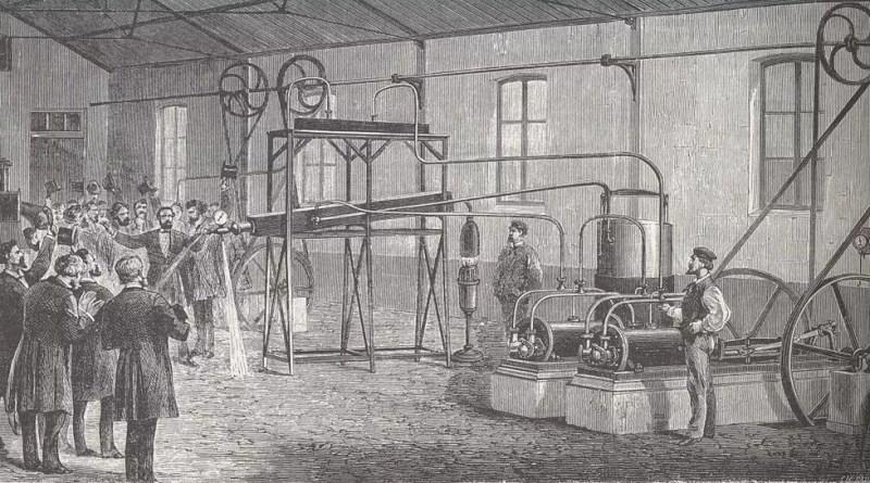 Dibujo del licuefactor de Pictet en una demostración
