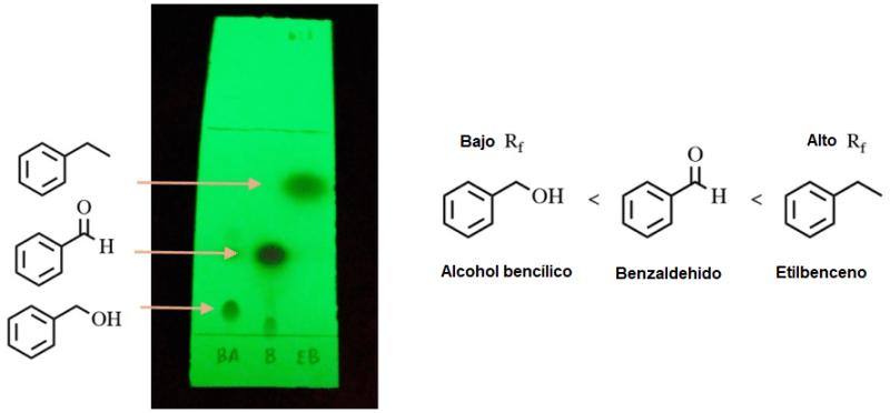 Figura 4: TLC de alcohol bencílico (carril 1), benzaldehído (carril 2) y etilbenceno (carril 3). La placa se eluyó usando mezcla de hexanos: acetato de etilo 6:1 y se visualizó con luz ultravioleta.