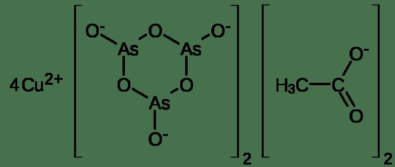 Estructura química del verde de París, triarsenita de acetato de cobre(II) o acetoarsenita de cobre(II)