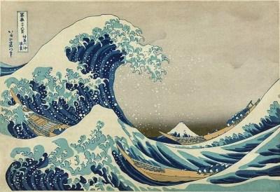La Gran Ola de Kanagawa por Hokusai, una famosa obra de arte que utiliza ampliamente el azul de Prusia.