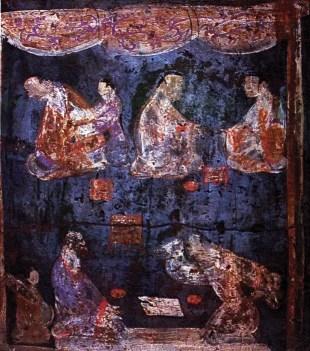 Detalle de un mural de una tumba de Han Oriental cerca de Luoyang, Henan, que muestra un par de jugadores de Liubo, conteniendo ambos pigmentos azul y púrpura Han.