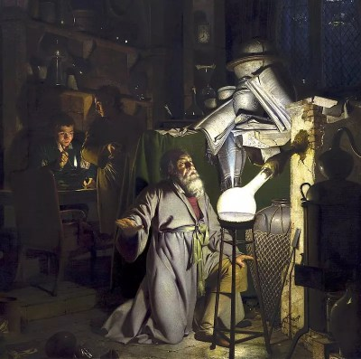 Ilustra del descubrimiento de fósforo por Hennig Brand en 1669. Pintura por Joseph Wright