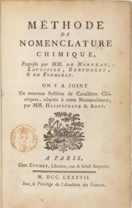 Primera página de Méthode de nomenclature chimique