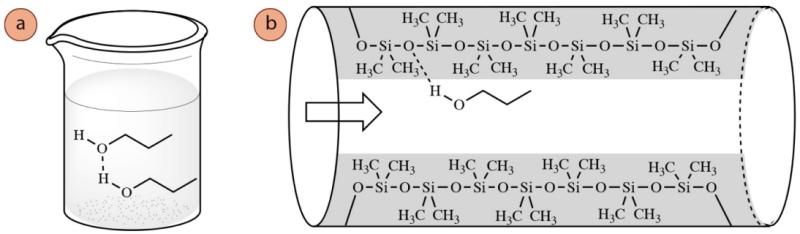 Figura 2: a) Enlace de hidrógeno mostrado para el 1-propanol en la fase líquida, b) Enlace de hidrógeno mostrado entre el 1-propanol y el revestimiento polimérico de la columna de cromatografía.